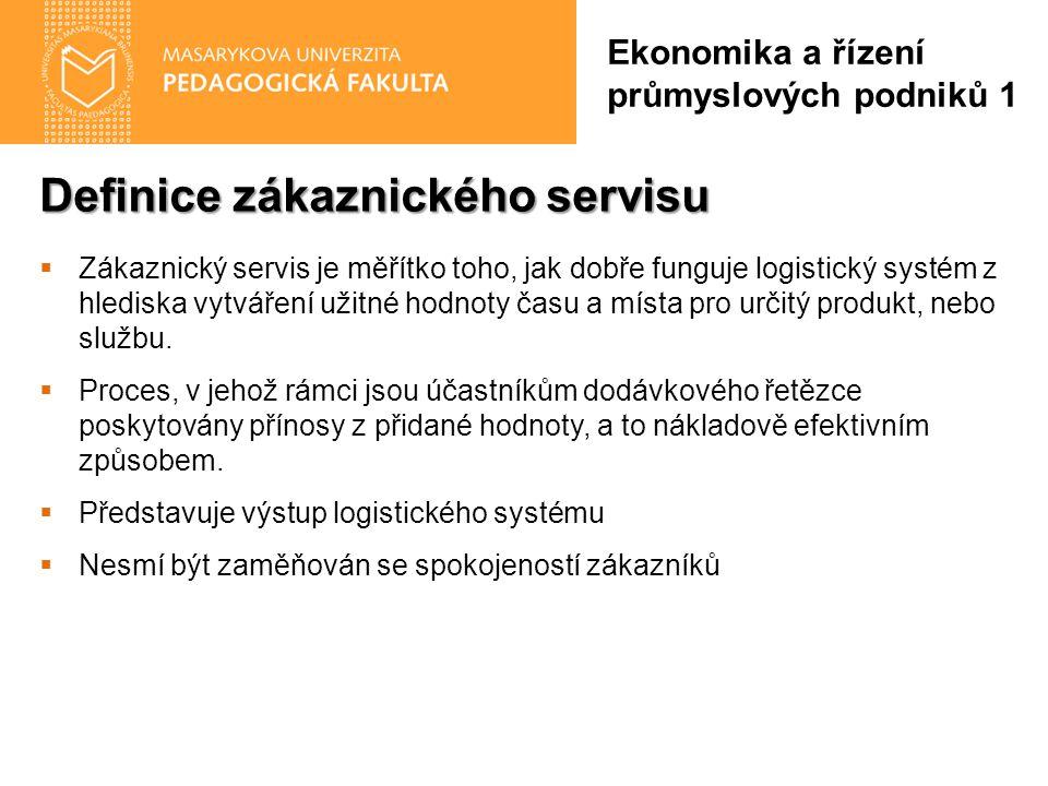 Definice zákaznického servisu Ekonomika a řízení průmyslových podniků 1  Zákaznický servis je měřítko toho, jak dobře funguje logistický systém z hlediska vytváření užitné hodnoty času a místa pro určitý produkt, nebo službu.