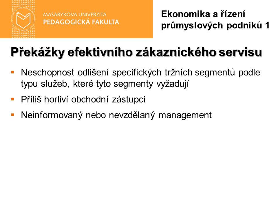Překážky efektivního zákaznického servisu Ekonomika a řízení průmyslových podniků 1  Neschopnost odlišení specifických tržních segmentů podle typu služeb, které tyto segmenty vyžadují  Příliš horliví obchodní zástupci  Neinformovaný nebo nevzdělaný management