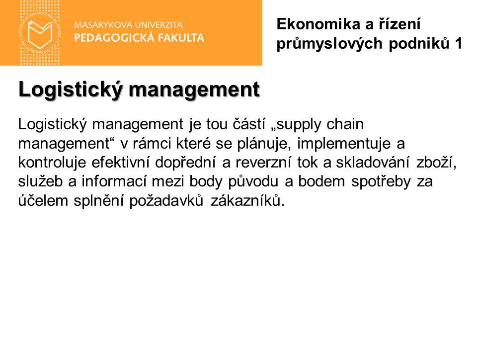"""Logistický management Ekonomika a řízení průmyslových podniků 1 Logistický management je tou částí """"supply chain management v rámci které se plánuje, implementuje a kontroluje efektivní dopřední a reverzní tok a skladování zboží, služeb a informací mezi body původu a bodem spotřeby za účelem splnění požadavků zákazníků."""