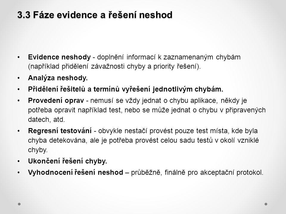 3.3 Fáze evidence a řešení neshod Evidence neshody - doplnění informací k zaznamenaným chybám (například přidělení závažnosti chyby a priority řešení)