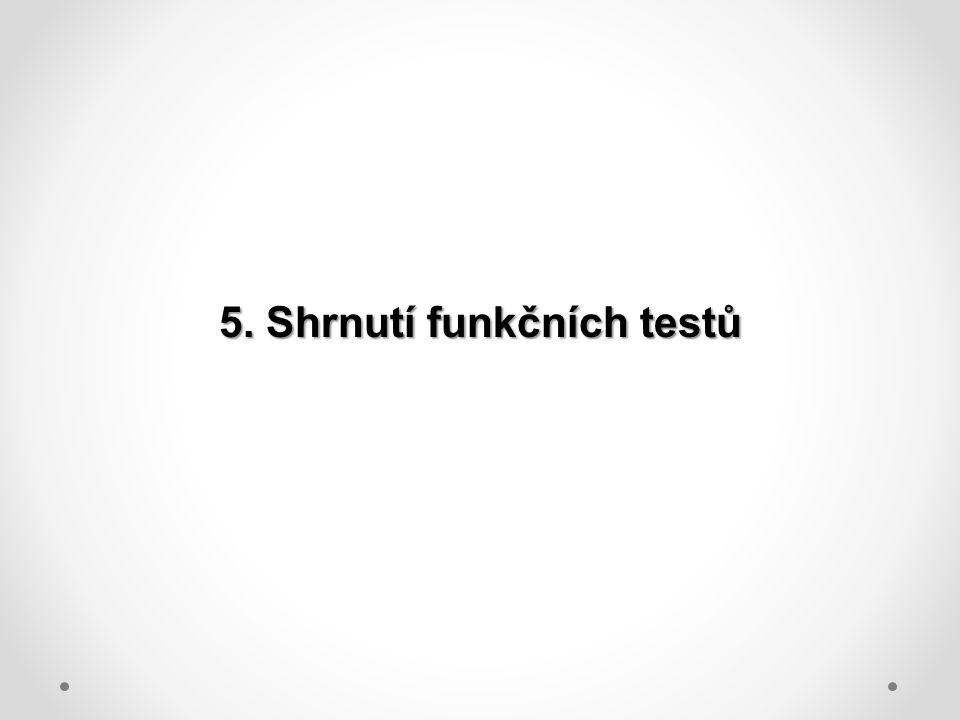 5. Shrnutí funkčních testů