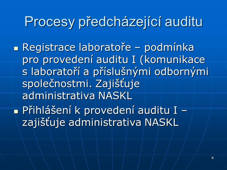 8 Procesy předcházející auditu Registrace laboratoře – podmínka pro provedení auditu I (komunikace s laboratoří a příslušnými odbornými společnostmi.