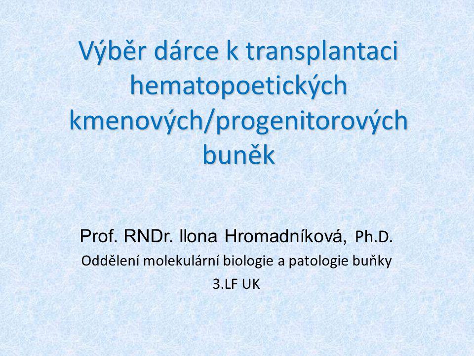 Výběr dárce k transplantaci hematopoetických kmenových/progenitorových buněk Prof.