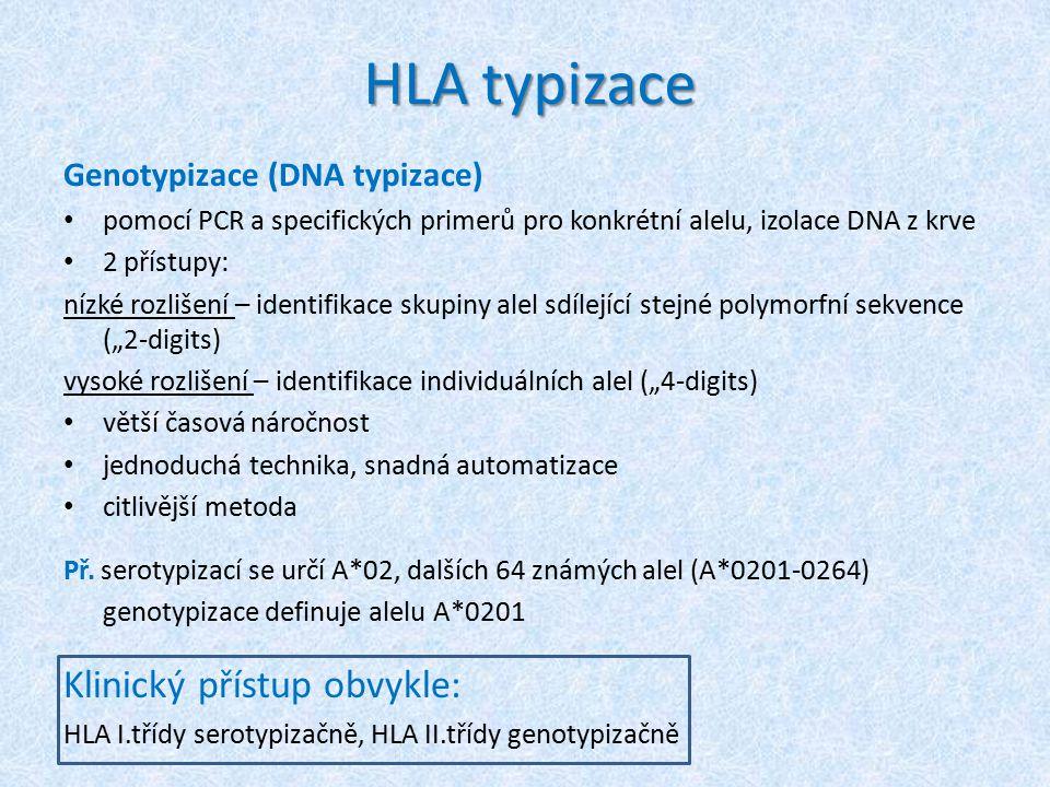 """HLA typizace Genotypizace (DNA typizace) pomocí PCR a specifických primerů pro konkrétní alelu, izolace DNA z krve 2 přístupy: nízké rozlišení – identifikace skupiny alel sdílející stejné polymorfní sekvence (""""2-digits) vysoké rozlišení – identifikace individuálních alel (""""4-digits) větší časová náročnost jednoduchá technika, snadná automatizace citlivější metoda Př."""