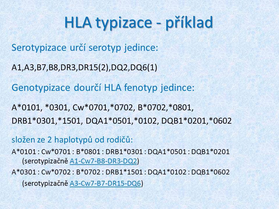 HLA typizace - příklad Serotypizace určí serotyp jedince: A1,A3,B7,B8,DR3,DR15(2),DQ2,DQ6(1) Genotypizace dourčí HLA fenotyp jedince: A*0101, *0301, Cw*0701,*0702, B*0702,*0801, DRB1*0301,*1501, DQA1*0501,*0102, DQB1*0201,*0602 složen ze 2 haplotypů od rodičů: A*0101 : Cw*0701 : B*0801 : DRB1*0301 : DQA1*0501 : DQB1*0201 (serotypizačně A1-Cw7-B8-DR3-DQ2) A*0301 : Cw*0702 : B*0702 : DRB1*1501 : DQA1*0102 : DQB1*0602 (serotypizačně A3-Cw7-B7-DR15-DQ6)