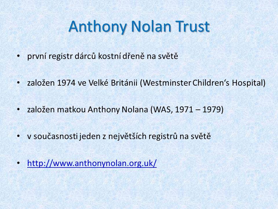 Anthony Nolan Trust první registr dárců kostní dřeně na světě založen 1974 ve Velké Británii (Westminster Children's Hospital) založen matkou Anthony Nolana (WAS, 1971 – 1979) v současnosti jeden z největších registrů na světě http://www.anthonynolan.org.uk/