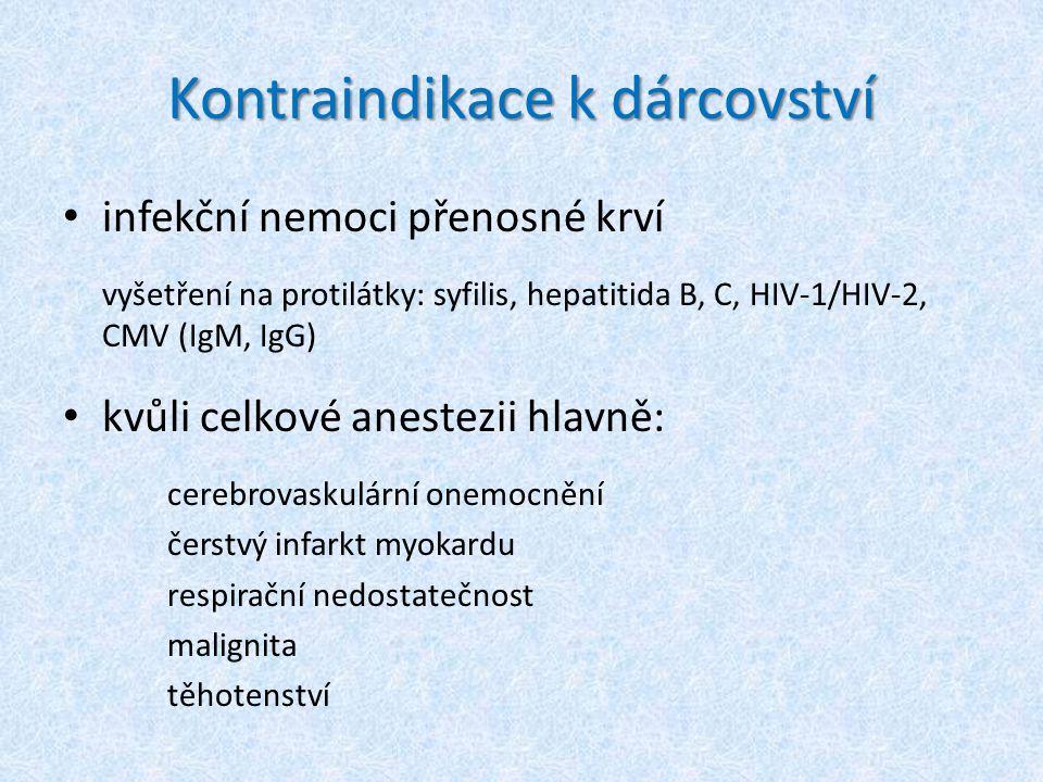 Kontraindikace k dárcovství infekční nemoci přenosné krví vyšetření na protilátky: syfilis, hepatitida B, C, HIV-1/HIV-2, CMV (IgM, IgG) kvůli celkové anestezii hlavně: cerebrovaskulární onemocnění čerstvý infarkt myokardu respirační nedostatečnost malignita těhotenství