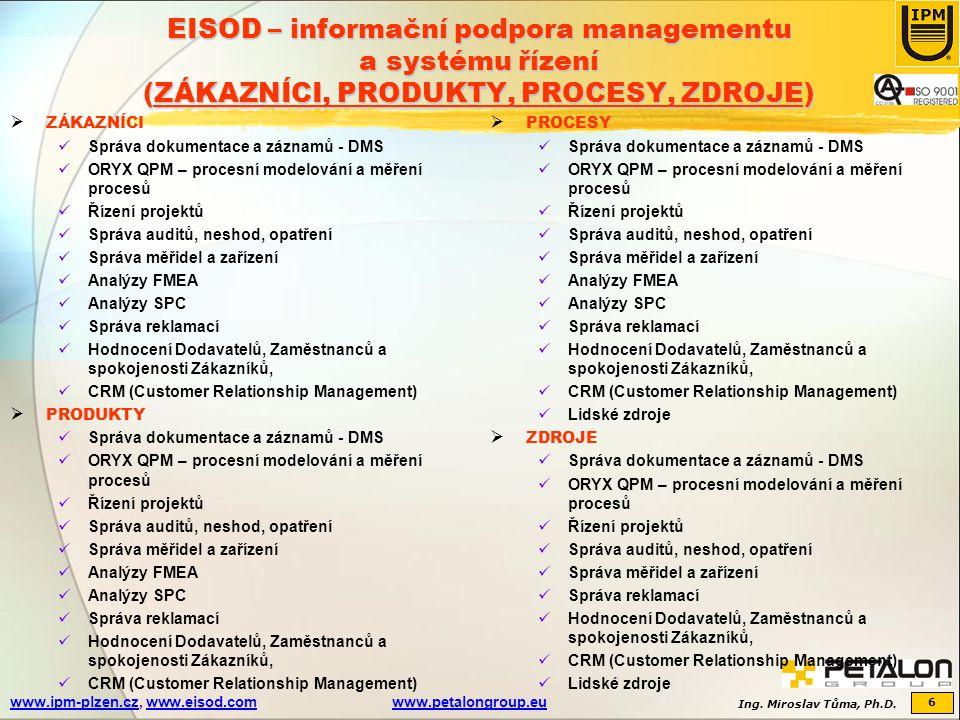 Ing. Miroslav Tůma, Ph.D. 6 www.ipm-plzen.czwww.ipm-plzen.cz, www.eisod.comwww.petalongroup.euwww.eisod.comwww.petalongroup.eu EISOD – informační podp