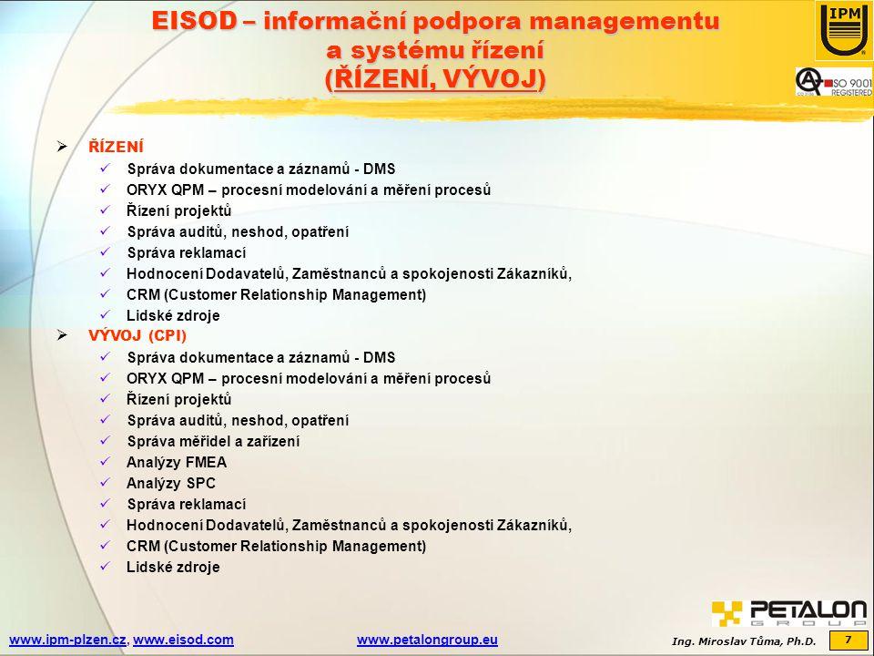 Ing. Miroslav Tůma, Ph.D. 7 www.ipm-plzen.czwww.ipm-plzen.cz, www.eisod.comwww.petalongroup.euwww.eisod.comwww.petalongroup.eu EISOD – informační podp