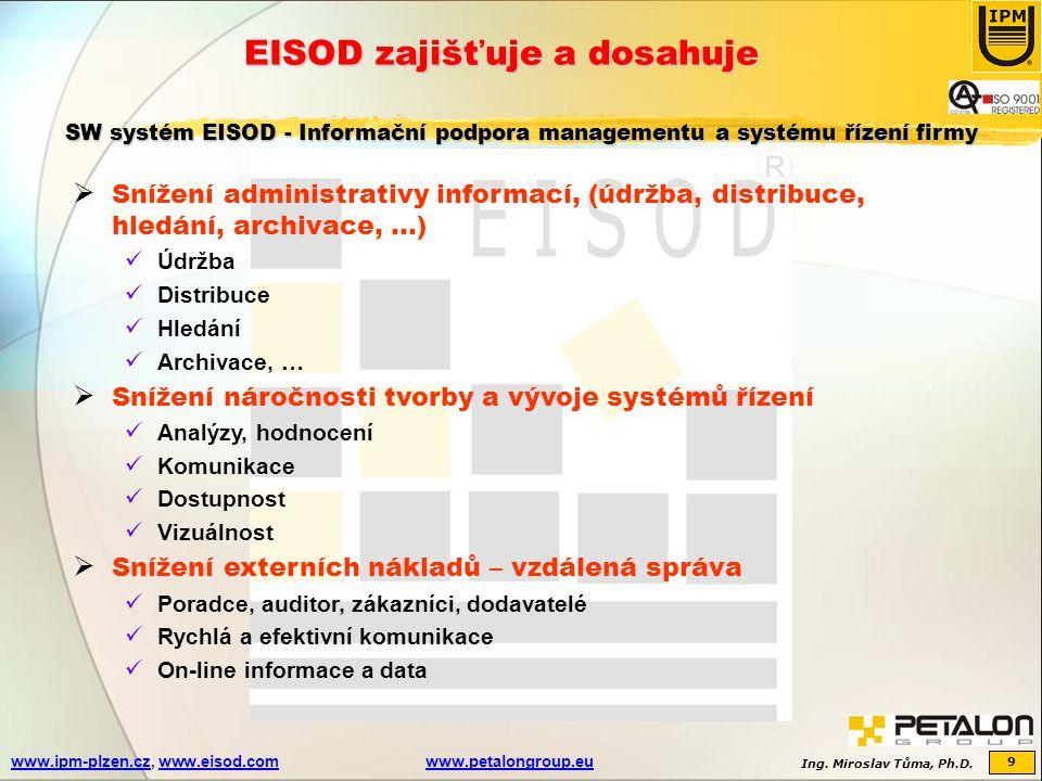 Ing. Miroslav Tůma, Ph.D. 9 www.ipm-plzen.czwww.ipm-plzen.cz, www.eisod.comwww.petalongroup.euwww.eisod.comwww.petalongroup.eu EISOD zajišťuje a dosah
