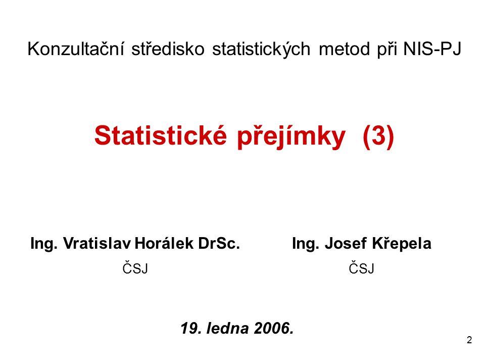 2 Konzultační středisko statistických metod při NIS-PJ Statistické přejímky (3) Ing.