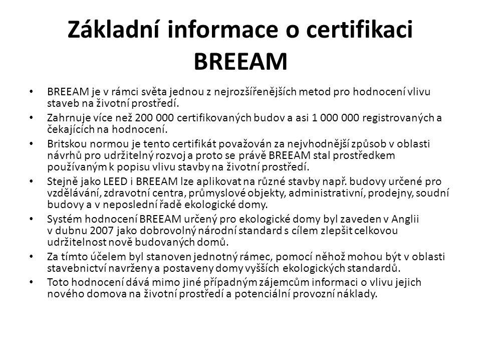 Základní informace o certifikaci BREEAM BREEAM je v rámci světa jednou z nejrozšířenějších metod pro hodnocení vlivu staveb na životní prostředí. Zahr