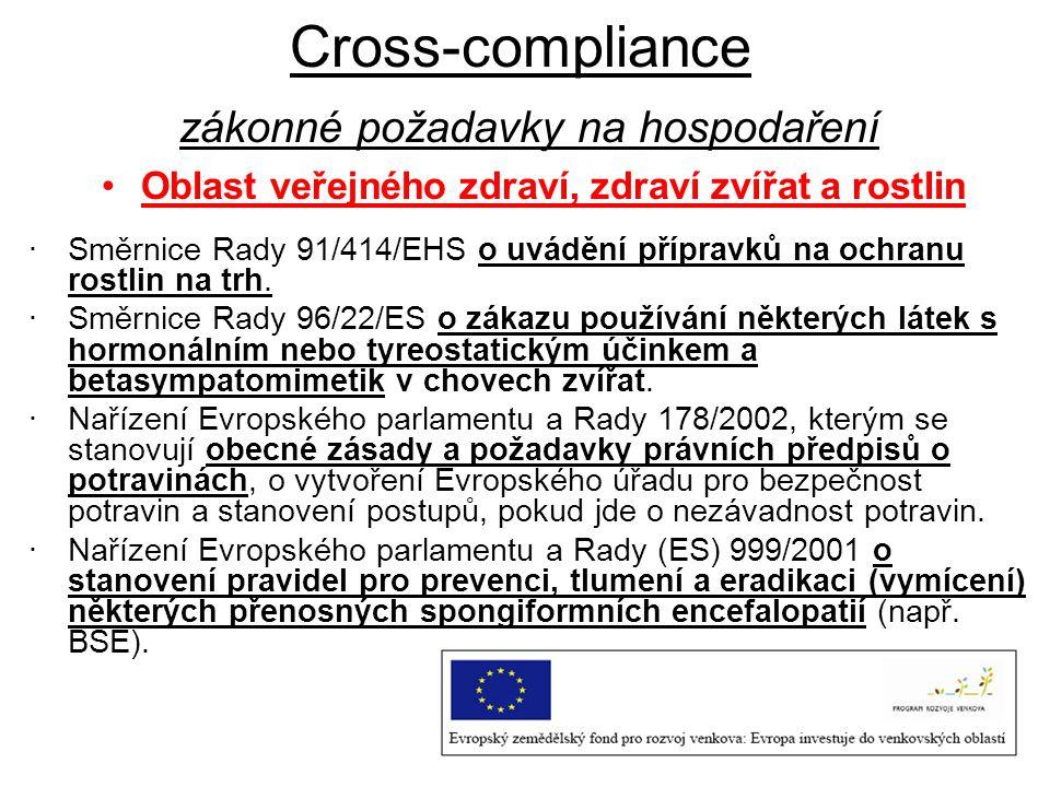 Cross-compliance zákonné požadavky na hospodaření Oblast veřejného zdraví, zdraví zvířat a rostlin ·Směrnice Rady 91/414/EHS o uvádění přípravků na oc