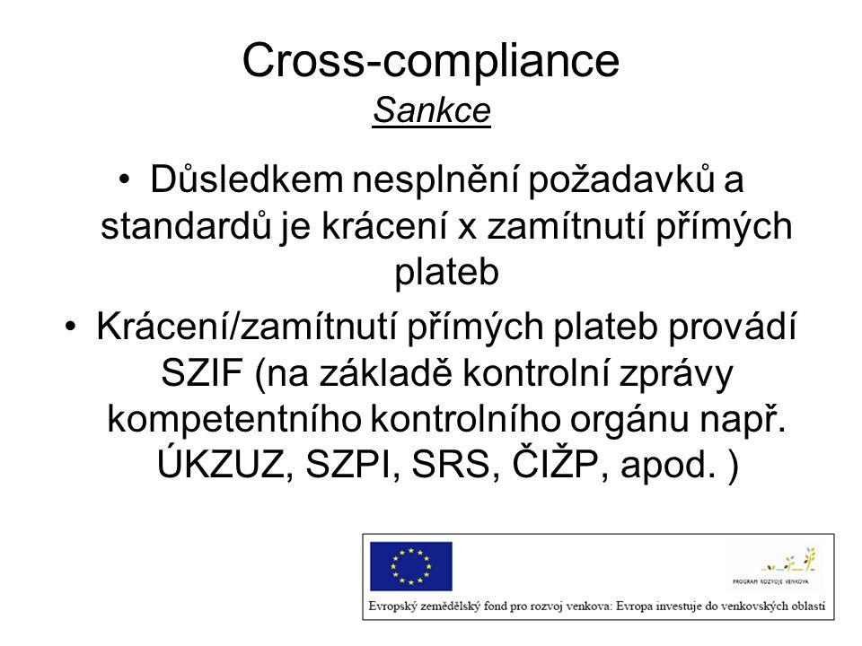 Cross-compliance Sankce Důsledkem nesplnění požadavků a standardů je krácení x zamítnutí přímých plateb Krácení/zamítnutí přímých plateb provádí SZIF