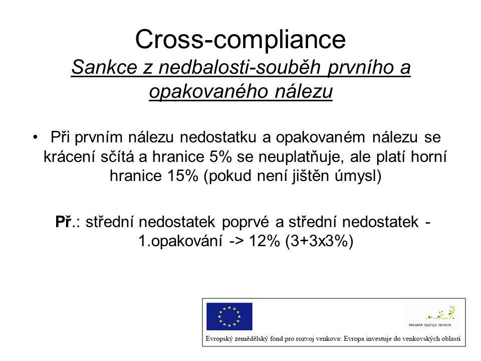 Cross-compliance Sankce z nedbalosti-souběh prvního a opakovaného nálezu Při prvním nálezu nedostatku a opakovaném nálezu se krácení sčítá a hranice 5