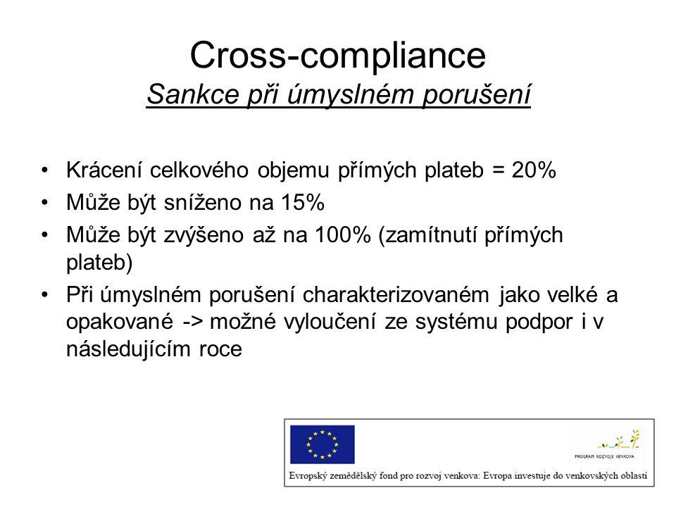 Cross-compliance Sankce při úmyslném porušení Krácení celkového objemu přímých plateb = 20% Může být sníženo na 15% Může být zvýšeno až na 100% (zamít