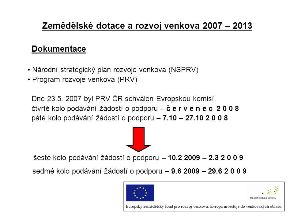 Zemědělské dotace a rozvoj venkova 2007 – 2013 Dokumentace Národní strategický plán rozvoje venkova (NSPRV) Program rozvoje venkova (PRV) Dne 23.5. 20