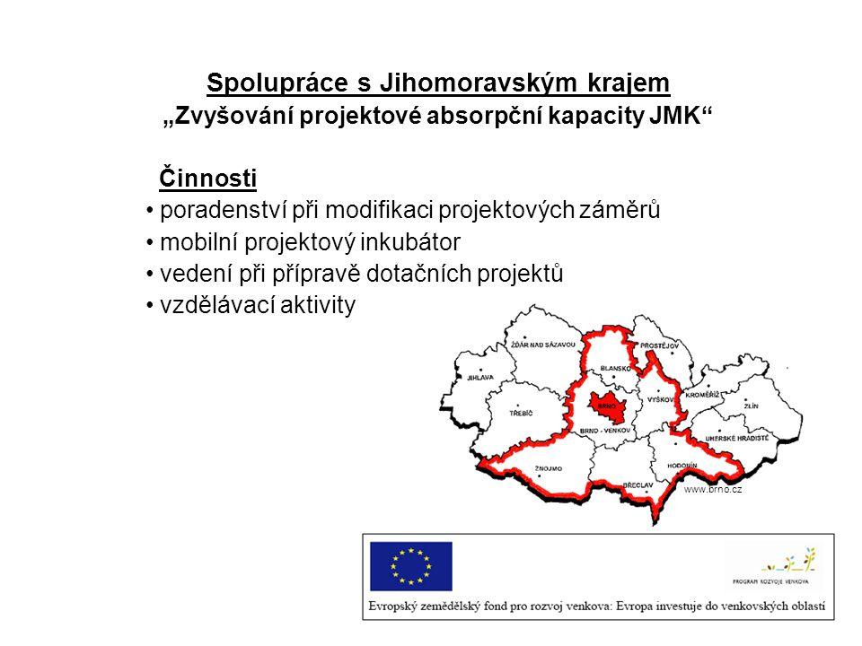 """Spolupráce s Jihomoravským krajem """"Zvyšování projektové absorpční kapacity JMK"""" Činnosti poradenství při modifikaci projektových záměrů mobilní projek"""