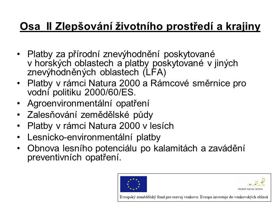 Osa II Zlepšování životního prostředí a krajiny Platby za přírodní znevýhodnění poskytované v horských oblastech a platby poskytované v jiných znevýho