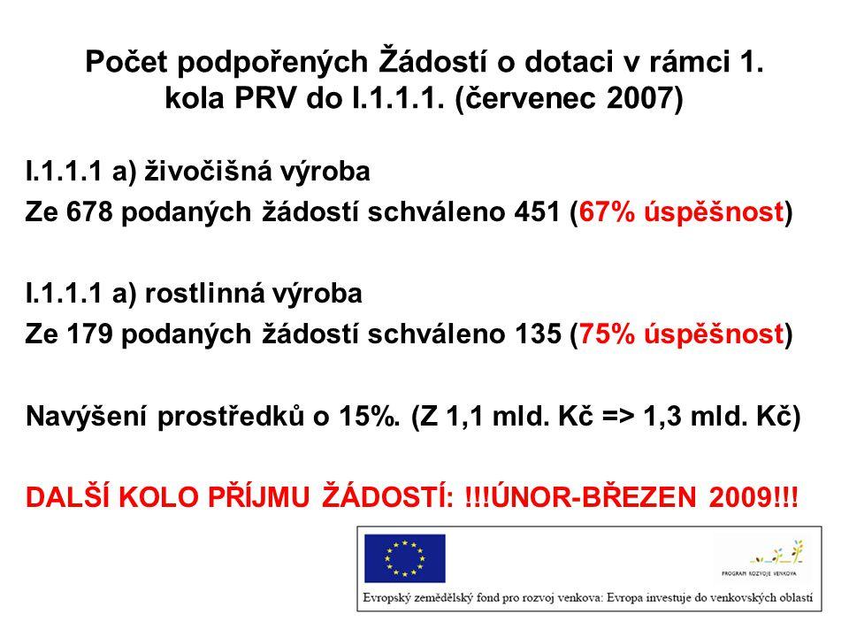 Počet podpořených Žádostí o dotaci v rámci 1. kola PRV do I.1.1.1. (červenec 2007) I.1.1.1 a) živočišná výroba Ze 678 podaných žádostí schváleno 451 (