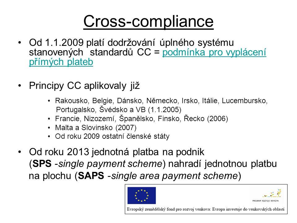 Od 1.1.2009 platí dodržování úplného systému stanovených standardů CC = podmínka pro vyplácení přímých plateb Principy CC aplikovaly již Rakousko, Bel