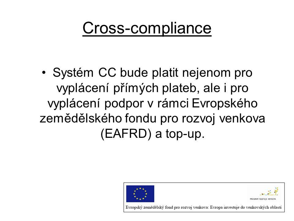 Cross-compliance Systém CC bude platit nejenom pro vyplácení přímých plateb, ale i pro vyplácení podpor v rámci Evropského zemědělského fondu pro rozv
