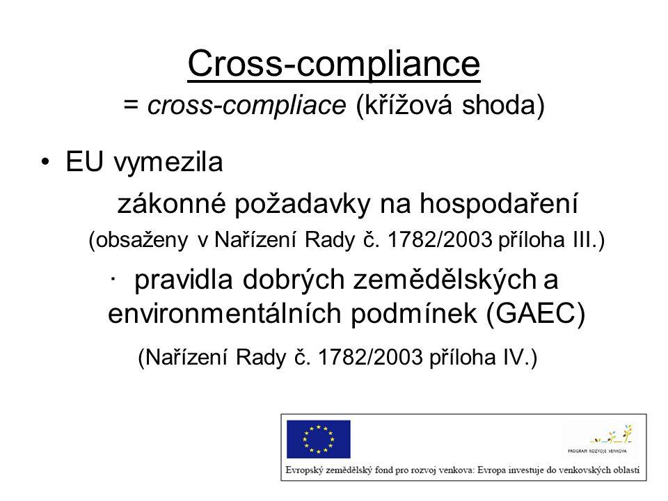 Cross-compliance zákonné požadavky na hospodaření Původní návrh z ledna 2003 – 38 standardů Konečná verze reformy – 18 předpisů ·Oblast životního prostředí ·Oblast veřejného zdraví a zdraví zvířat, identifikace a evidence zvířat ·Oblast veřejného zdraví, zdraví zvířat a rostlin ·Oznamovací povinnost u chorob ·Zabezpečení pohody zvířat