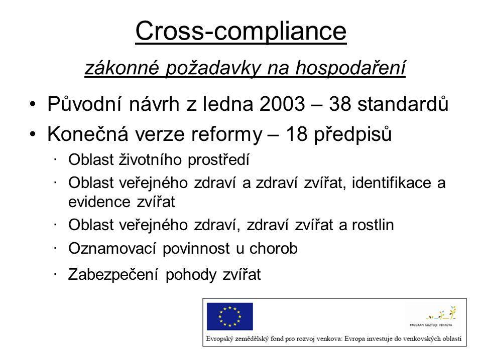 Cross-compliance zákonné požadavky na hospodaření Původní návrh z ledna 2003 – 38 standardů Konečná verze reformy – 18 předpisů ·Oblast životního pros