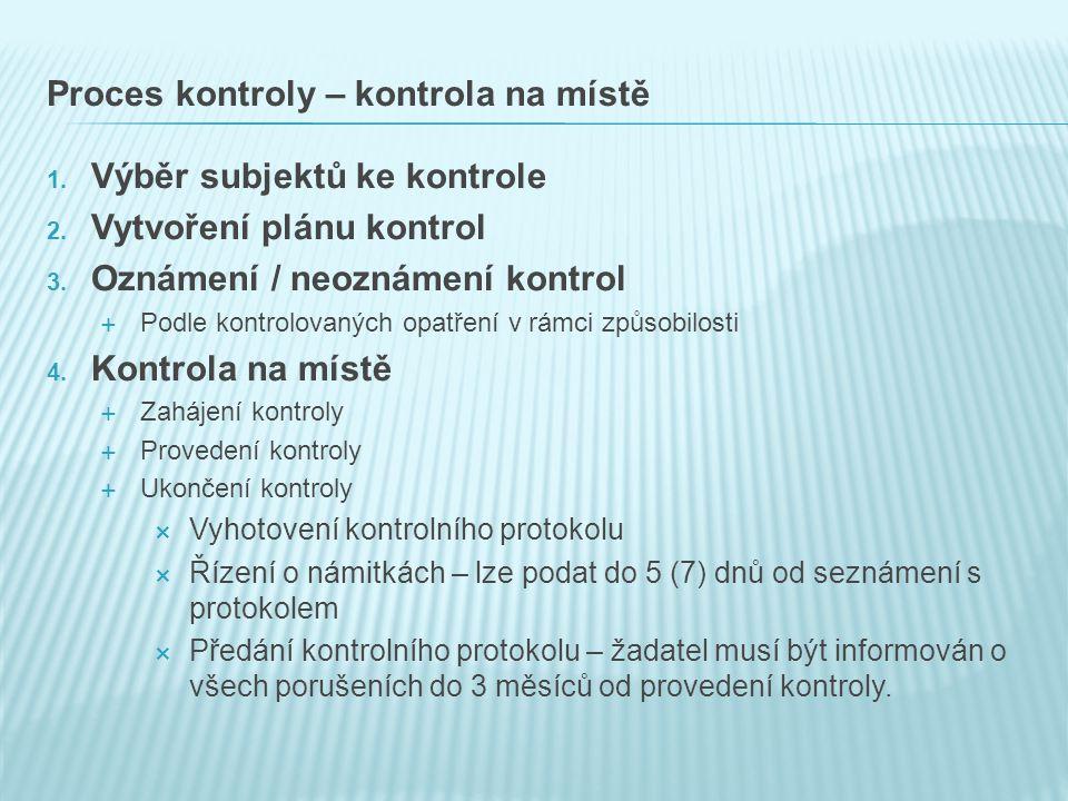 Proces kontroly – kontrola na místě 1.Výběr subjektů ke kontrole 2.