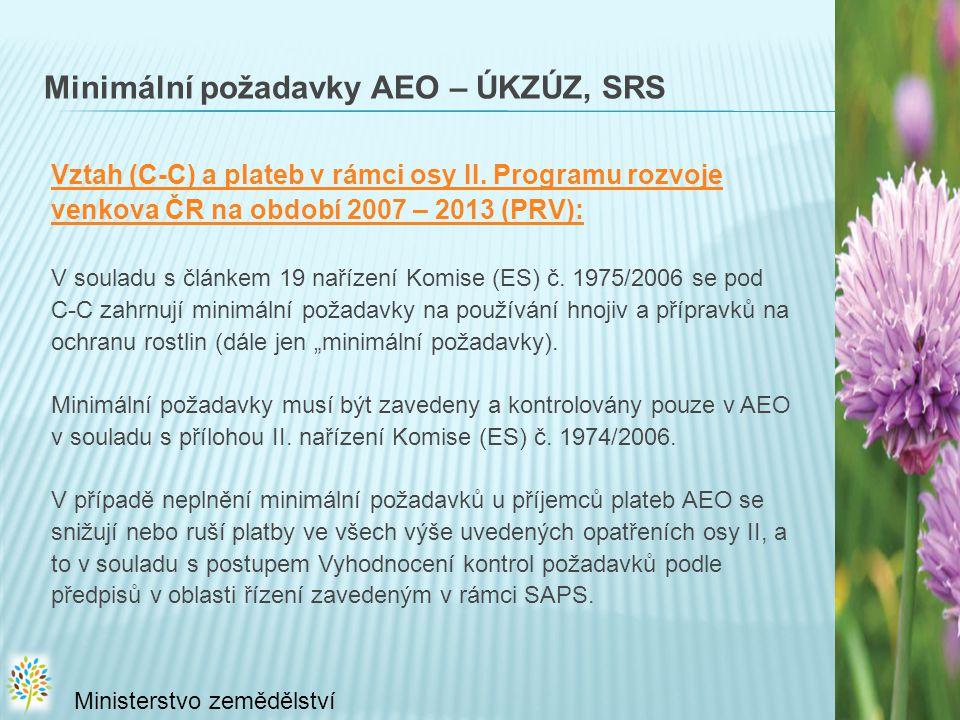 Minimální požadavky AEO – ÚKZÚZ, SRS Vztah (C-C) a plateb v rámci osy II.