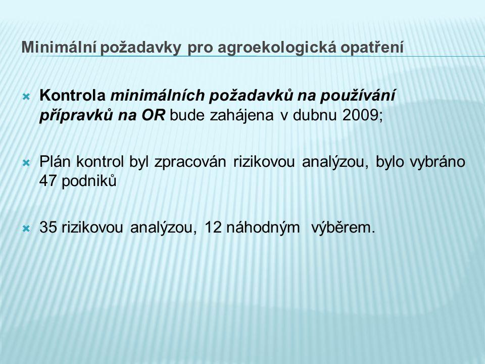 Minimální požadavky pro agroekologická opatření  Kontrola minimálních požadavků na používání přípravků na OR bude zahájena v dubnu 2009;  Plán kontrol byl zpracován rizikovou analýzou, bylo vybráno 47 podniků  35 rizikovou analýzou, 12 náhodným výběrem.