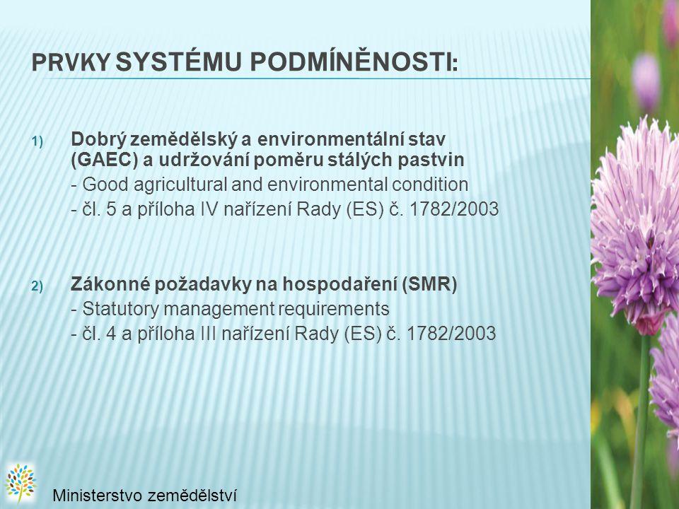 PRVKY SYSTÉMU PODMÍNĚNOSTI : 1) Dobrý zemědělský a environmentální stav (GAEC) a udržování poměru stálých pastvin - Good agricultural and environmental condition - čl.