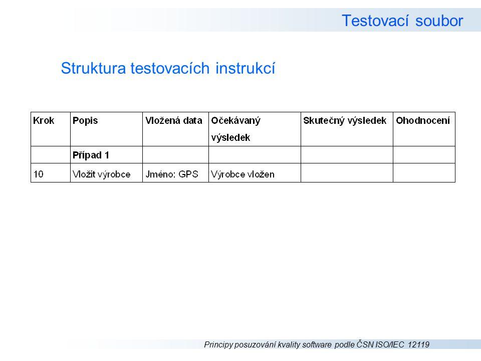 Principy posuzování kvality software podle ČSN ISO/IEC 12119 Testovací soubor Struktura testovacích instrukcí