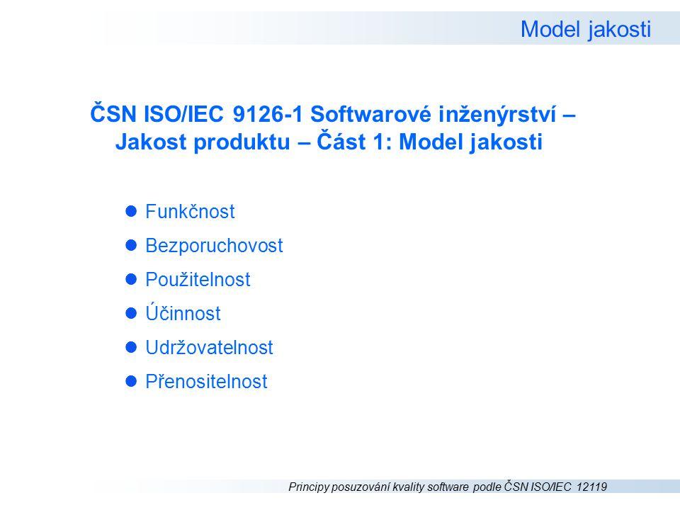 Principy posuzování kvality software podle ČSN ISO/IEC 12119 Model jakosti ČSN ISO/IEC 9126-1 Softwarové inženýrství – Jakost produktu – Část 1: Model