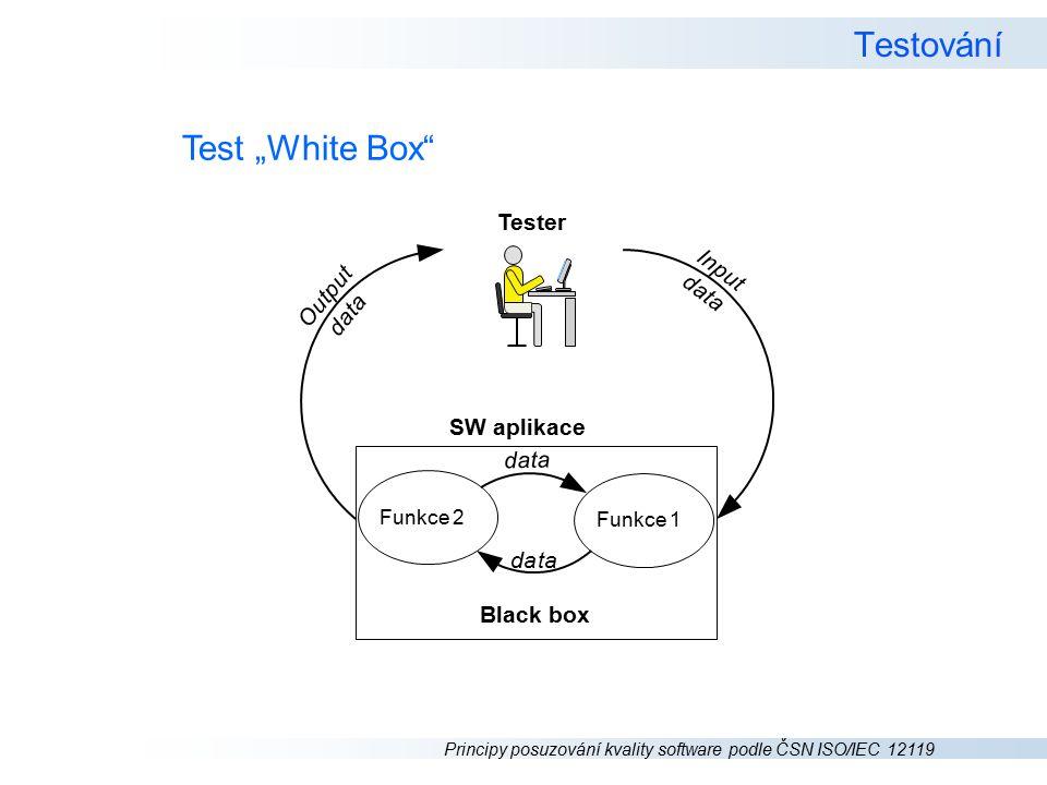 """Principy posuzování kvality software podle ČSN ISO/IEC 12119 Testování Test """"White Box Tester SW aplikace d a t a data Funkce 2 Funkce 1 I n p u t d a t a O u t p u t d a t a Black box"""