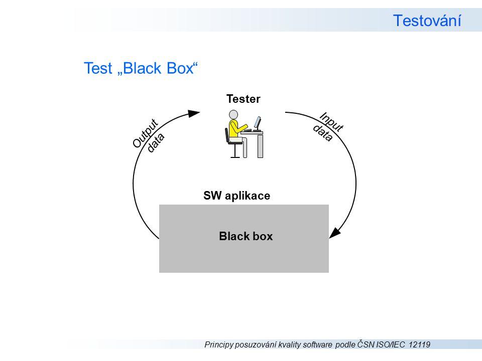 """Principy posuzování kvality software podle ČSN ISO/IEC 12119 Testování Test """"Black Box Tester I n p u t d a t a SW aplikace O u t p u t d a t a Black box"""