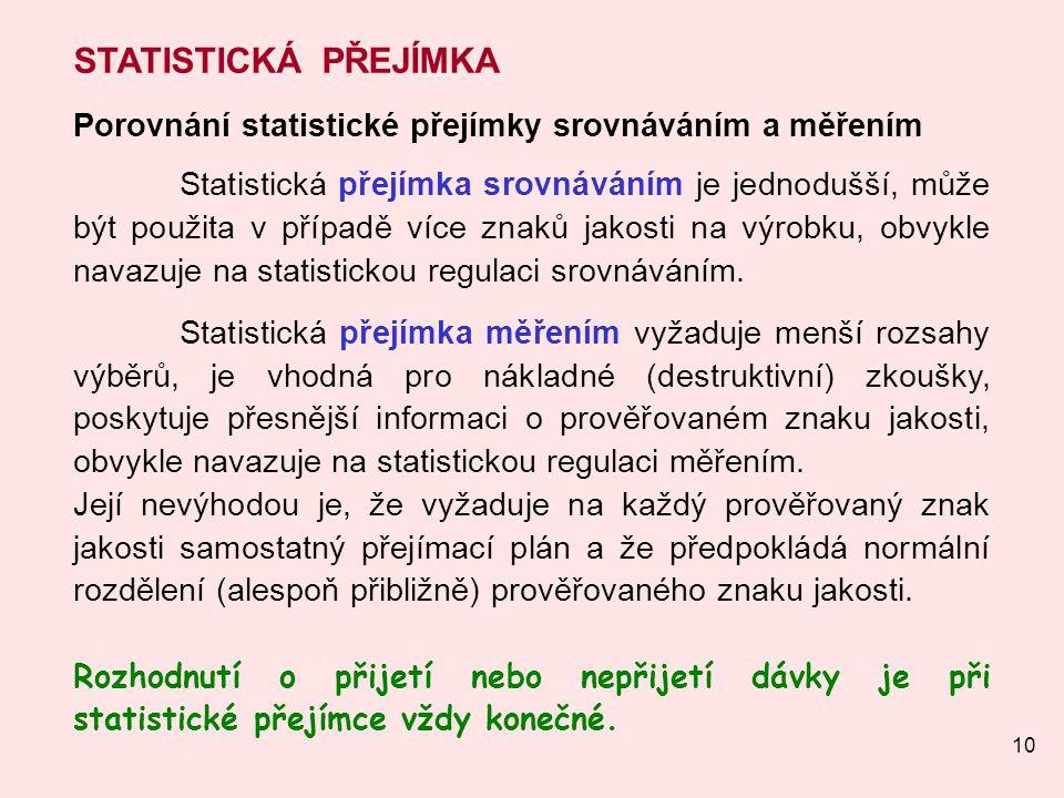 10 STATISTICKÁ PŘEJÍMKA Porovnání statistické přejímky srovnáváním a měřením Statistická přejímka srovnáváním je jednodušší, může být použita v případ