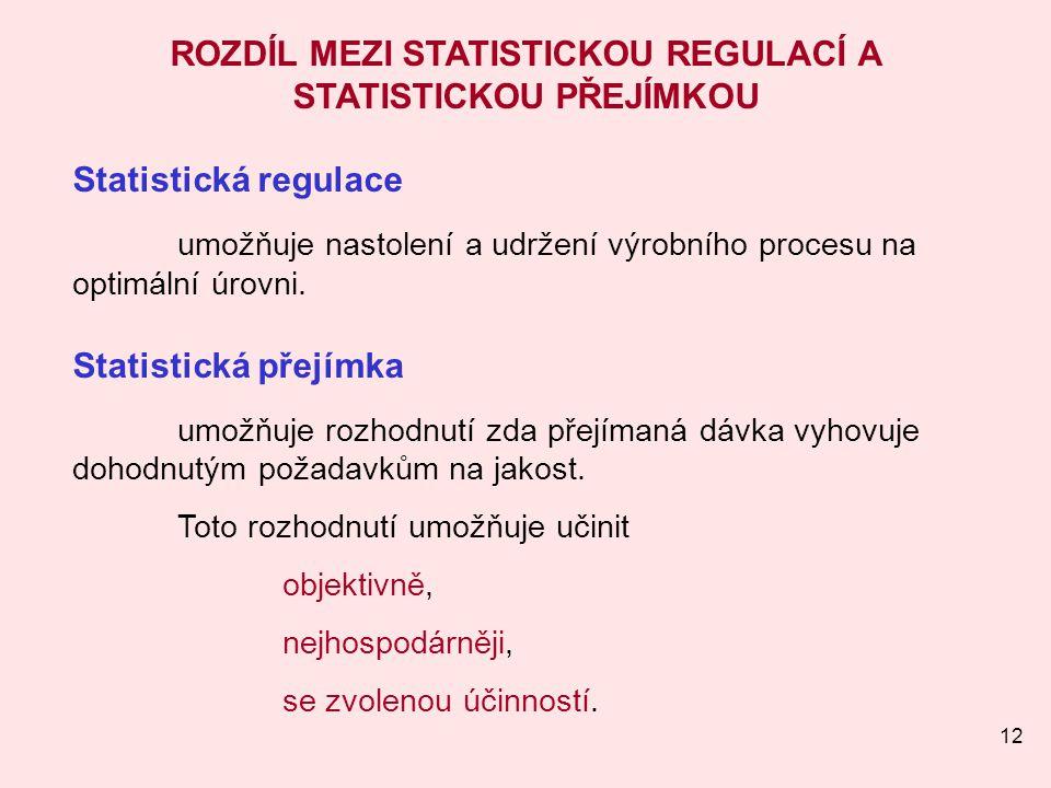 12 ROZDÍL MEZI STATISTICKOU REGULACÍ A STATISTICKOU PŘEJÍMKOU Statistická regulace umožňuje nastolení a udržení výrobního procesu na optimální úrovni.