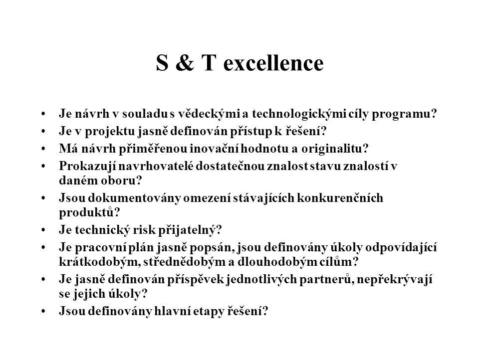 S & T excellence Je návrh v souladu s vědeckými a technologickými cíly programu? Je v projektu jasně definován přístup k řešení? Má návrh přiměřenou i