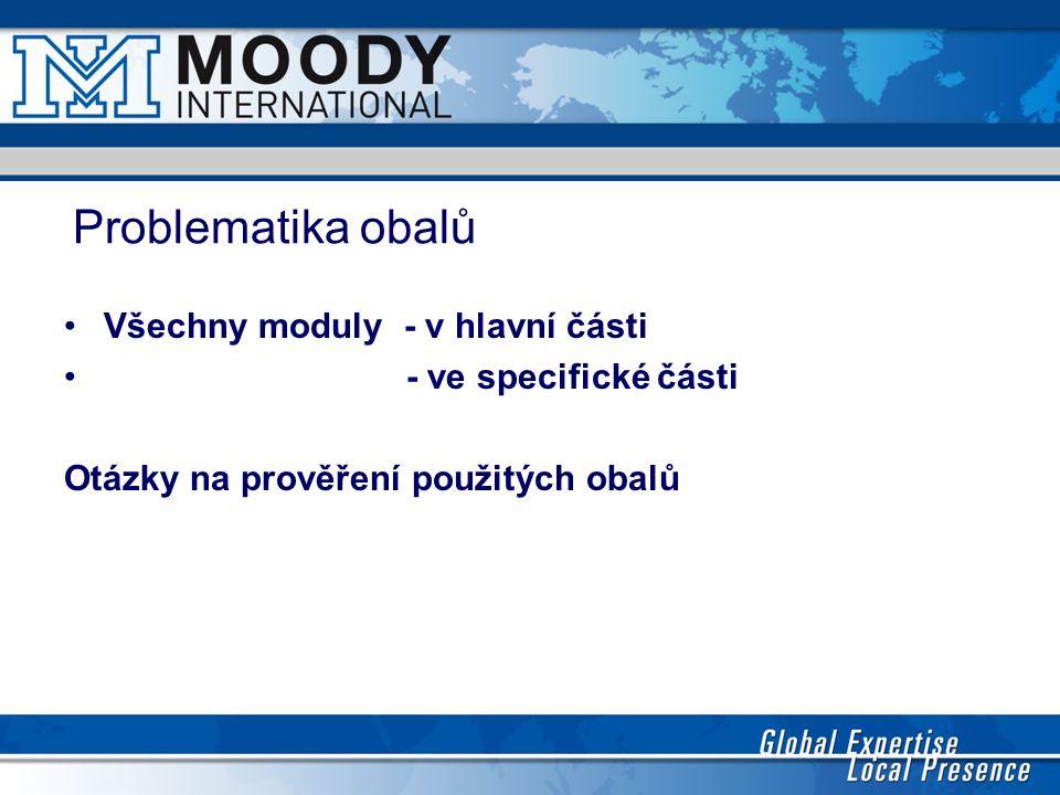 Problematika obalů Všechny moduly - v hlavní části - ve specifické části Otázky na prověření použitých obalů