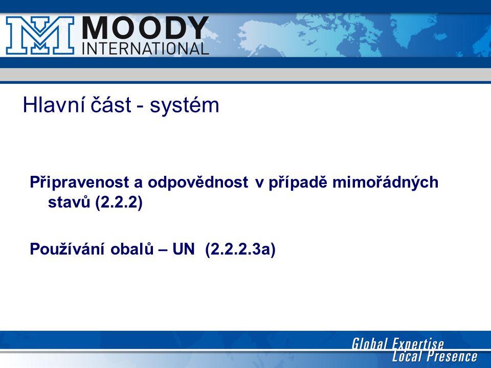 Hlavní část - systém Připravenost a odpovědnost v případě mimořádných stavů (2.2.2) Používání obalů – UN (2.2.2.3a)