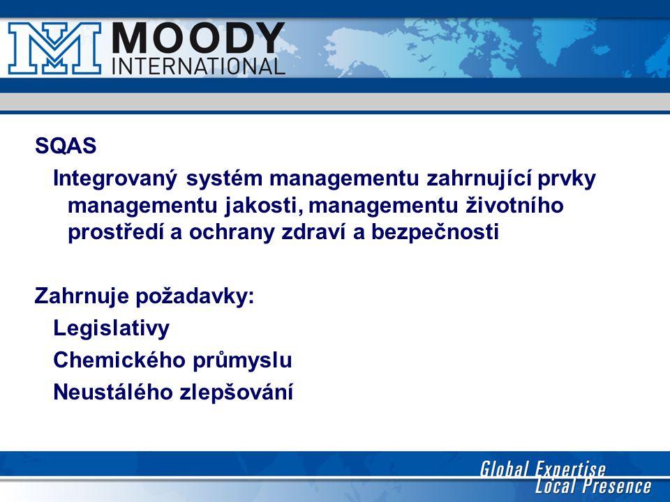 SQAS Integrovaný systém managementu zahrnující prvky managementu jakosti, managementu životního prostředí a ochrany zdraví a bezpečnosti Zahrnuje poža