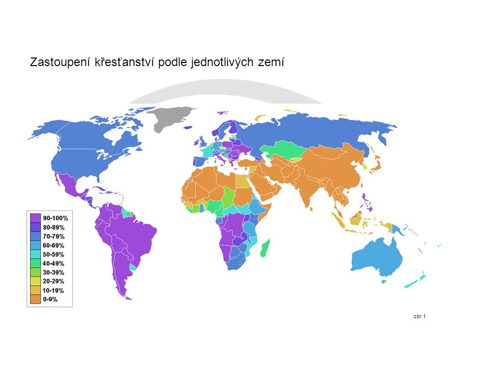 Zastoupení křesťanství podle jednotlivých zemí obr 1