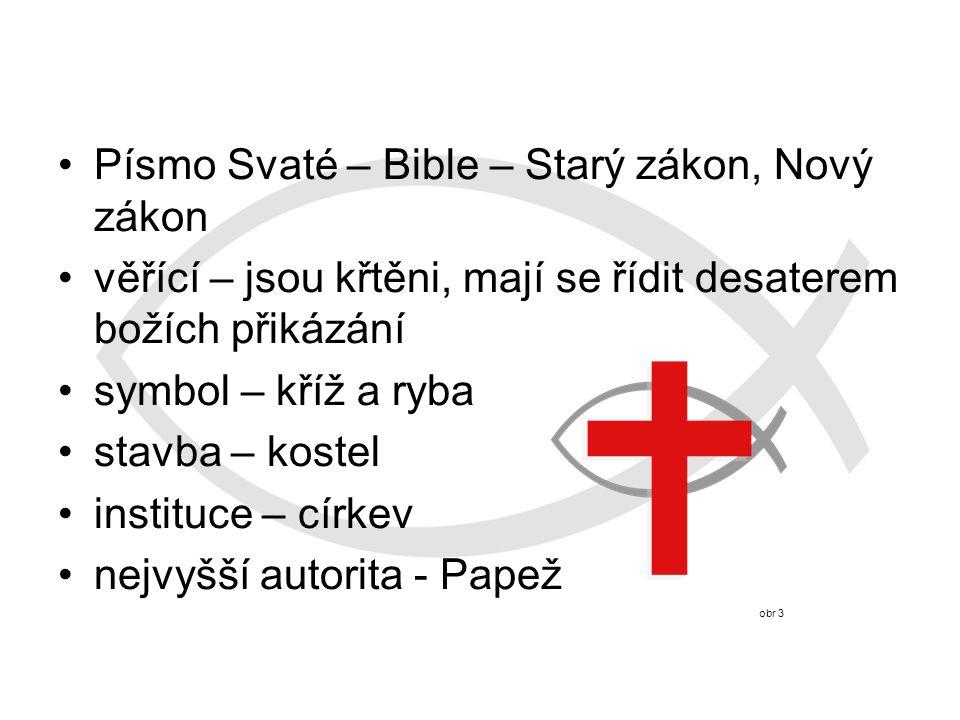 Písmo Svaté – Bible – Starý zákon, Nový zákon věřící – jsou křtěni, mají se řídit desaterem božích přikázání symbol – kříž a ryba stavba – kostel instituce – církev nejvyšší autorita - Papež obr 3