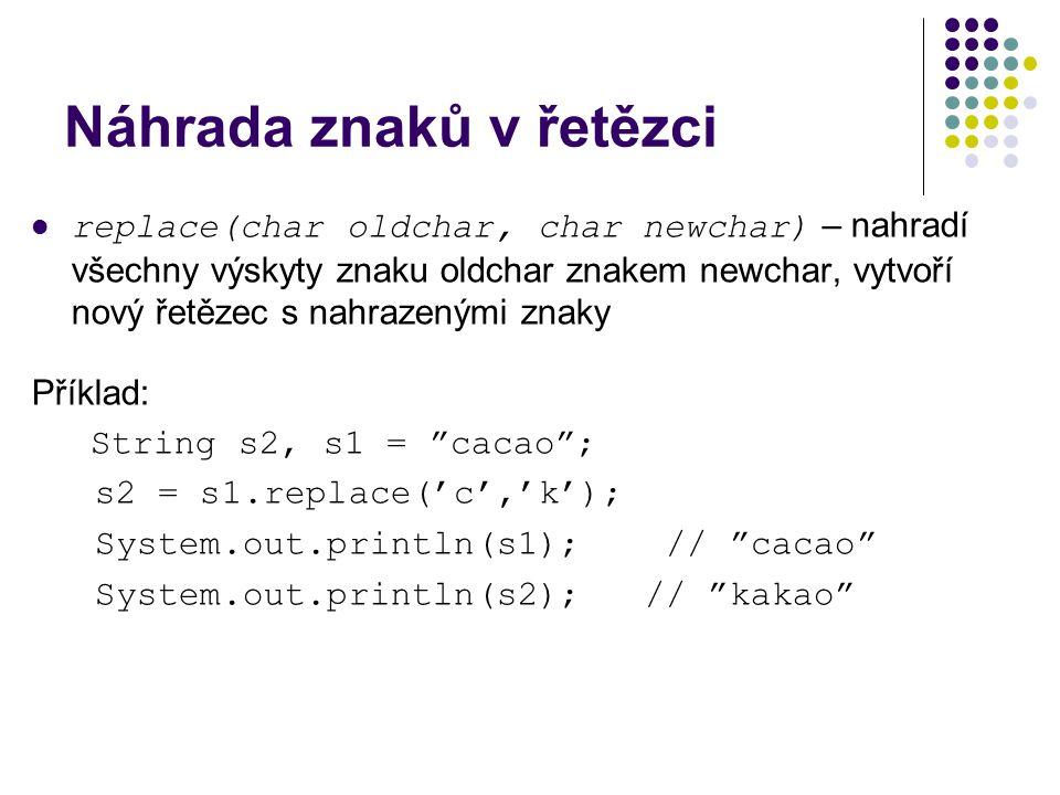 Náhrada znaků v řetězci replace(char oldchar, char newchar) – nahradí všechny výskyty znaku oldchar znakem newchar, vytvoří nový řetězec s nahrazenými