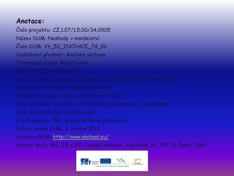 Anotace: Číslo projektu: CZ.1.07/1.5.00/34.0905 Název DUM: Neshody v manželství Číslo DUM: VY_52_INOVACE_74_96 Vzdělávací předmět: Rodinná výchova Tem