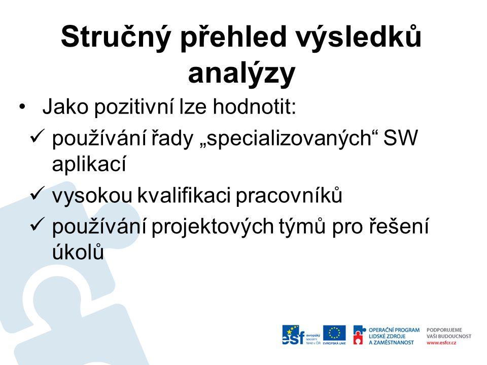 """Jako pozitivní lze hodnotit: používání řady """"specializovaných SW aplikací vysokou kvalifikaci pracovníků používání projektových týmů pro řešení úkolů Stručný přehled výsledků analýzy"""