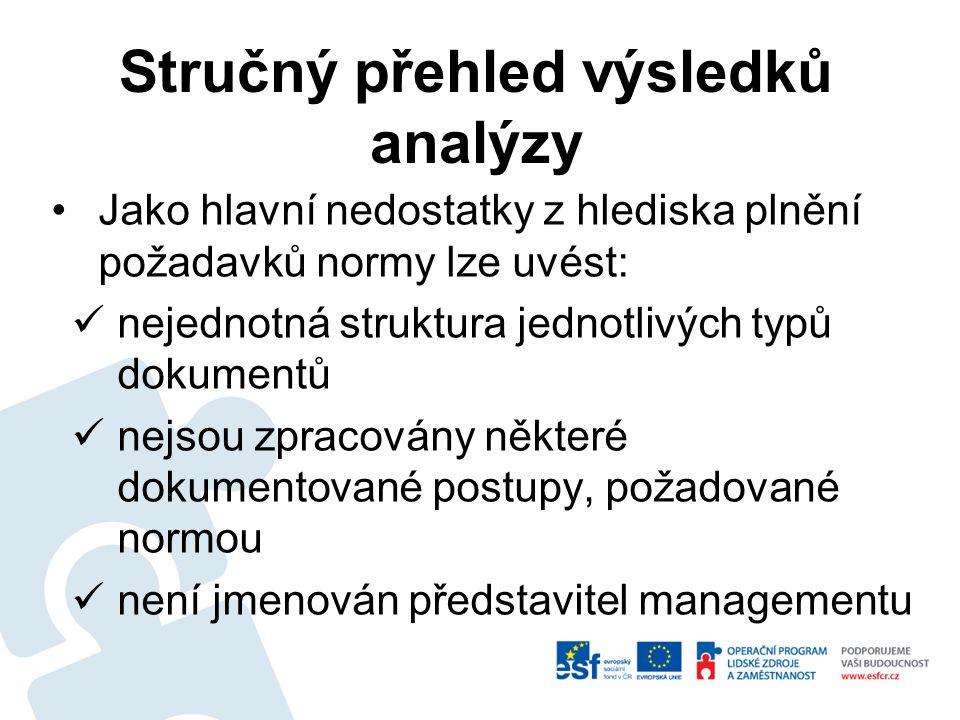 Jako hlavní nedostatky z hlediska plnění požadavků normy lze uvést: nejednotná struktura jednotlivých typů dokumentů nejsou zpracovány některé dokumentované postupy, požadované normou není jmenován představitel managementu Stručný přehled výsledků analýzy