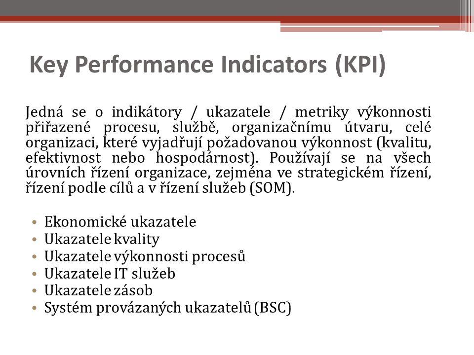 Key Performance Indicators (KPI) Jedná se o indikátory / ukazatele / metriky výkonnosti přiřazené procesu, službě, organizačnímu útvaru, celé organizaci, které vyjadřují požadovanou výkonnost (kvalitu, efektivnost nebo hospodárnost).