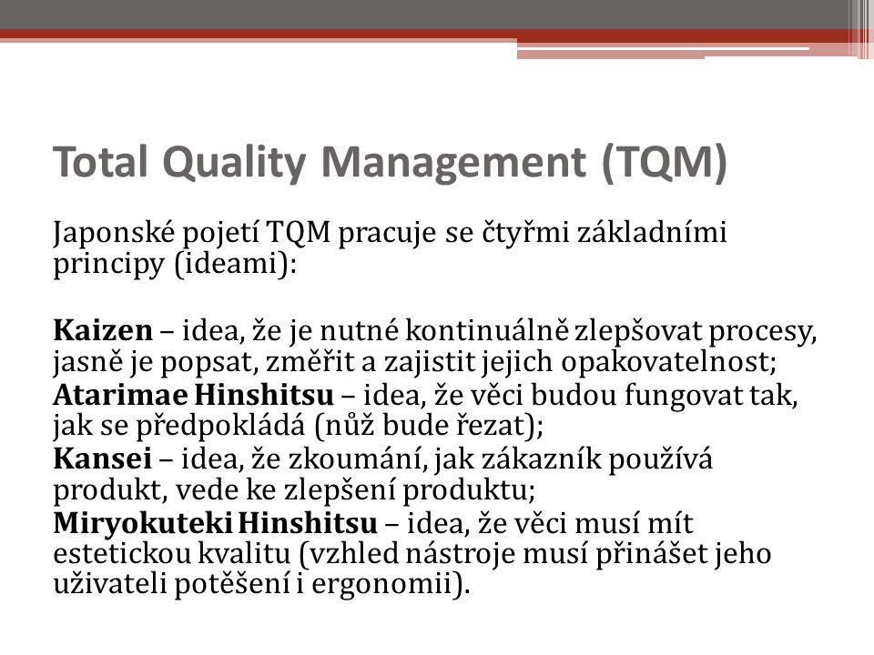 Total Quality Management (TQM) Japonské pojetí TQM pracuje se čtyřmi základními principy (ideami): Kaizen – idea, že je nutné kontinuálně zlepšovat procesy, jasně je popsat, změřit a zajistit jejich opakovatelnost; Atarimae Hinshitsu – idea, že věci budou fungovat tak, jak se předpokládá (nůž bude řezat); Kansei – idea, že zkoumání, jak zákazník používá produkt, vede ke zlepšení produktu; Miryokuteki Hinshitsu – idea, že věci musí mít estetickou kvalitu (vzhled nástroje musí přinášet jeho uživateli potěšení i ergonomii).